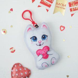 Мягкая игрушка, подвеска «Люблю тебя», котик