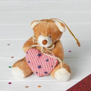 Мягкая игрушка-подвеска «Медведь с бантиком», сердце со звёздами, цвета МИКС