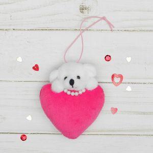Мягкая игрушка-подвеска «Мишка с сердцем», цвета МИКС