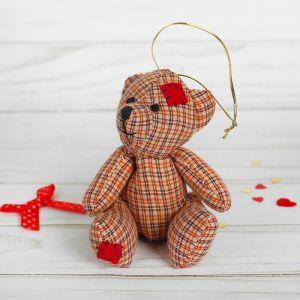 Мягкая игрушка-подвеска «Мишка», в клеточку, цвета МИКС