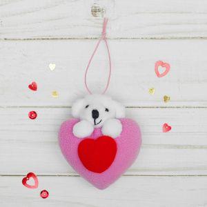 Мягкая игрушка-подвеска «Мишка», двойное сердце, цвета МИКС