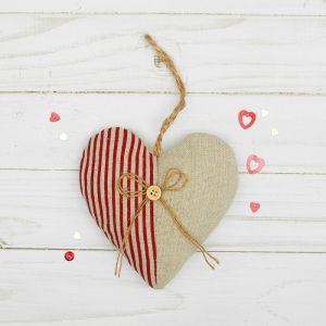 Мягкая игрушка-подвеска «Сердце пополам», с пуговкой и бантиком, цвета МИКС