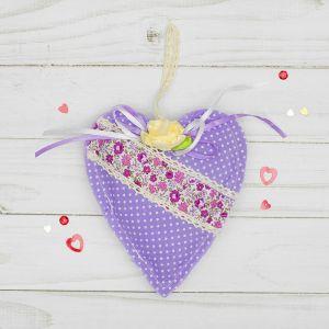Мягкая игрушка-подвеска «Сердце», в крапинку с кружевом, цвета МИКС