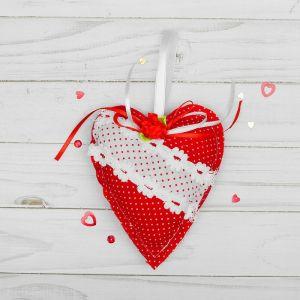 Мягкая игрушка-подвеска «Сердце», в крапинку с цветком, цвета МИКС