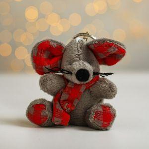 Мягкая игрушка-подвеска «Мышка», шарф в клетку, цвета МИКС