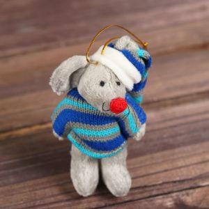 Мягкая игрушка-подвеска «Мышонок», полосатая одежда, цвета МИКС