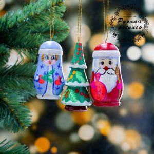 Набор ёлочных подвесок «Новогодний», 3 шт, 3?8 см, микс, ручная роспись 4429958