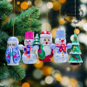 Набор ёлочных подвесок «Новогодний», 5 шт, 3?8 см, микс, ручная роспись 4429957