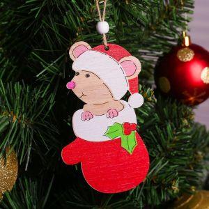 Подвеска новогодняя «Мышка в варежке»