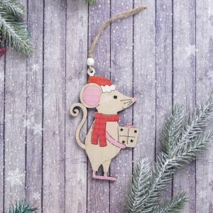"""Подвеска новогодняя """"Мышка с подарком"""" 0,3?9,5?13 см"""