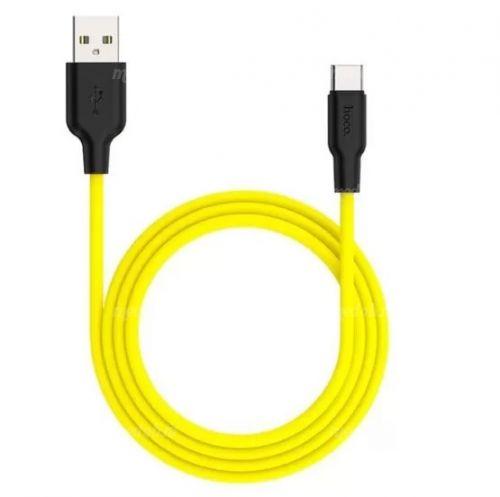 Кабель HOCO X21 Silicone Cable USB Type-C (L=1M), Black&Yellow
