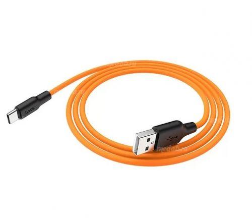 Кабель HOCO X21 Silicone Cable USB Type-C (L=1M), Black&Orange