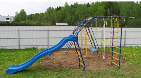 Уличный детский спортивный комплекс - Модель № 9 с горкой ВАРИАНТ № 2