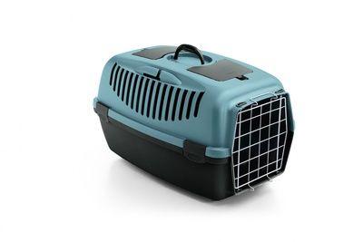 Переноска Stefanplast Gulliver 2 синяя до 6кг с металлической дверкой 55х36х35см для кошек и собак