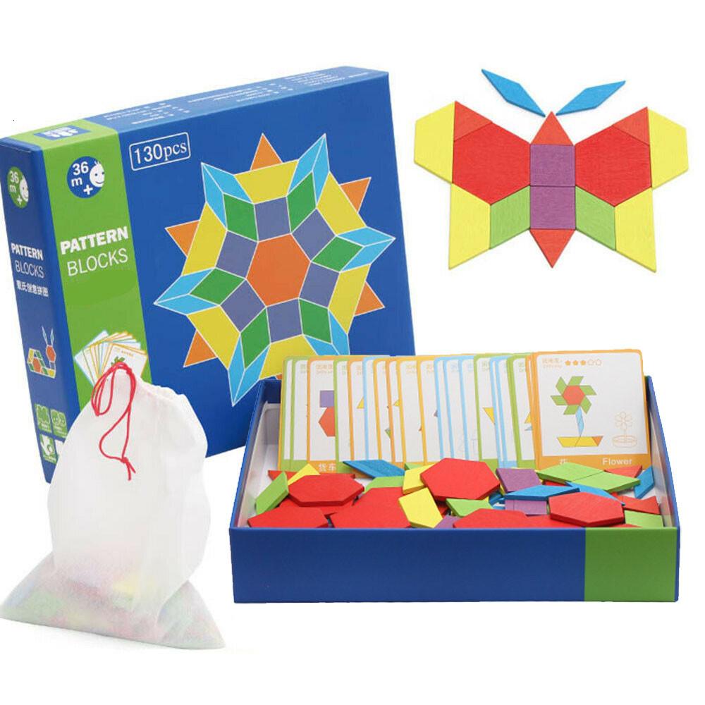 Развивающие пазлы Монтессори ZhikuBao Pattern Blocks 130 геометрических фигур, 24 карточки для детей от 3-х лет