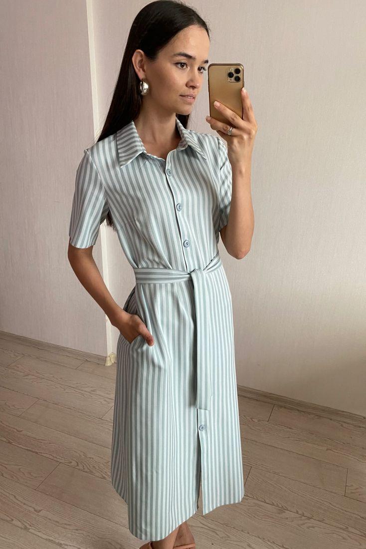 s1745 Платье в голубую полосочку-елочку из костюмной вискозы