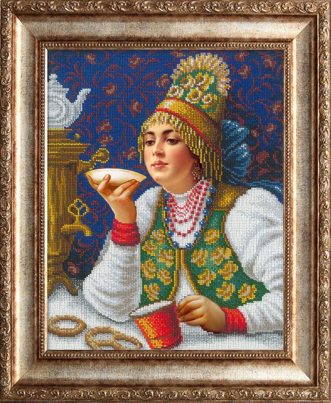 Набор для вышивания бисером Русская красавица за чаем РУССКАЯ ИСКУСНИЦА (2002)