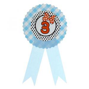 Значок «3», бантик, голубой цвет