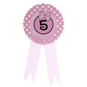 Значок «5», бантик, розовый цвет
