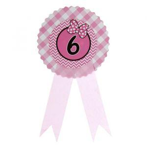Значок «6», бантик, розовый цвет