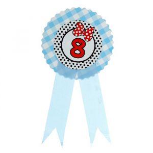 Значок «8», бантик, голубой цвет