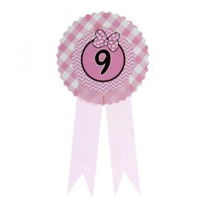 Значок «9», бантик, розовый цвет