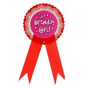 Значок «День рождения девочки», цвет красный
