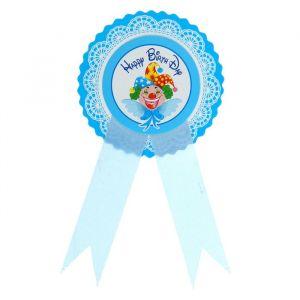 Значок «С днём рождения!», клоун, голубой цвет