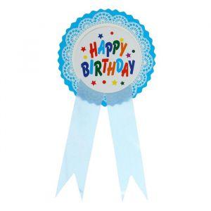 Значок «С Днём рождения», кружева, голубой цвет
