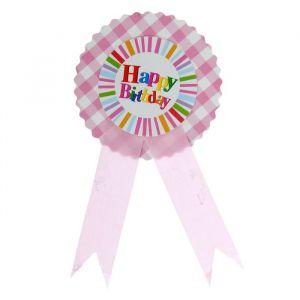 Значок «С Днём рождения», полосочки, розовый цвет