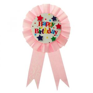 Значок орден «С днём рождения», розовый цвет, на булавке