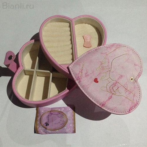 Двухъярусная шкатулка для ювелирных изделий Сердце, 14х14х9 см