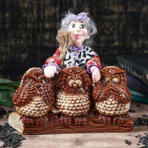 """Копилка """"Баба Яга с совой"""", разноцветный, 26 см, микс"""