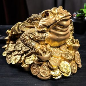 "Копилка ""Жаба на монетах"", глянец, бронзовый цвет, 24 см"