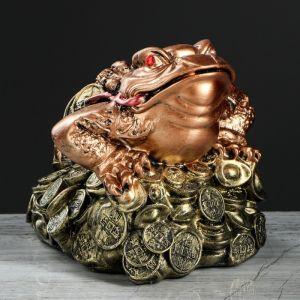 """Копилка """"Жаба феншуй"""", глянец, бронзовый цвет, 16 см"""