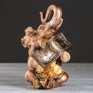"""Копилка """"Слон с деньгами"""", глянец, бронзовый цвет, 24 см"""