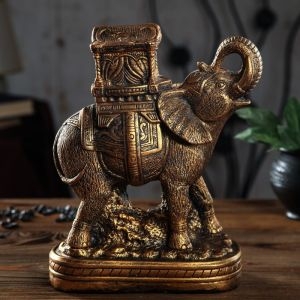 """Копилка """"Слон с домом"""" бронза 28 см   3536400"""