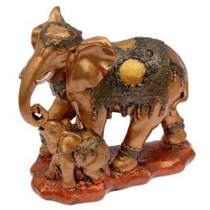 """Копилка """"Слоны семья"""", глянец, бронзовый цвет, 29 см"""