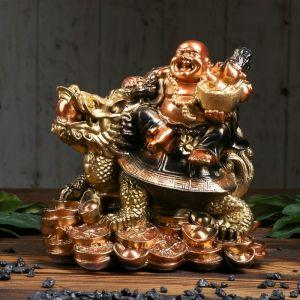 "Копилка ""Хотей на драконе"", глянец, бронзовый цвет, 25 см"