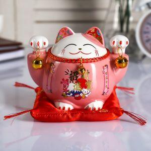 "Копилка керамика ""Кот манэки-нэко розовый с колокольчиками"" 10,5х13,5х9 см   4780313"