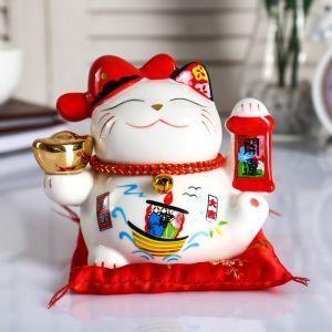 "Копилка керамика ""Кот манэки-нэко со слитком и колокольчиком"" 12х15х9 см   4780315"