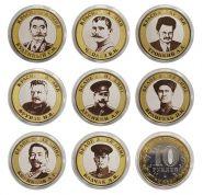 Набор монет 8 штук, 10 РУБЛЕЙ - КРАСНАЯ АРМИЯ и БЕЛОЕ ДВИЖЕНИЕ, гравировка