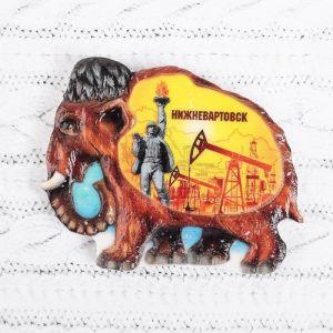 Магнит в форме мамонта «Нижневартовск. Памятник Покорителям Самотлора»