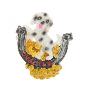 """Магнит полистоун """"Пёс на подкове с пожеланием и золотыми монетами"""" МИКС 6,7х6 см 2296209"""