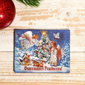 """Магнит """"Новый год и Рождество: """"Счастливого Рождества. Ангелы"""" 7х9см   4558311"""