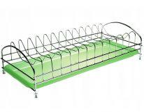 Настольная сушилка для посуды из нержавеющей стали с пластмассовым поддоном, 43х19 см, зелёный