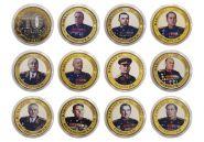 Набор монет 11 штук, 10 РУБЛЕЙ - КАВАЛЕРЫ ОРДЕНА ПОБЕДЫ, цветная эмаль и гравировка