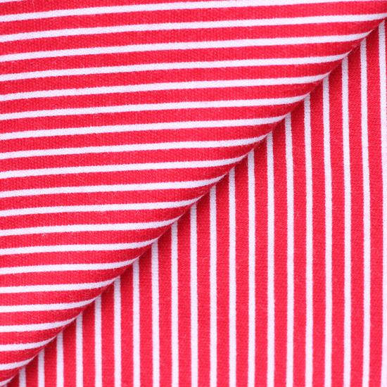 Лоскут трикотажной ткани Красный в белую полосочку