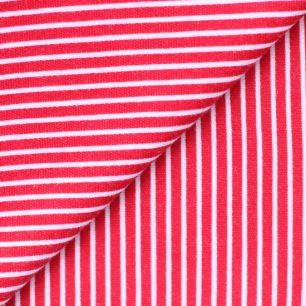 Лоскут трикотажной Красный в белую полосочку