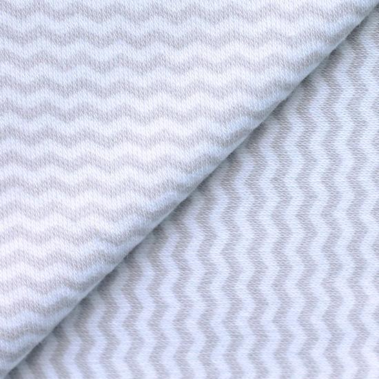 Лоскут трикотажной ткани Белый в серый шеврон